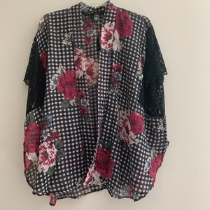 mixit gingham floral black lace sleeve cardigan
